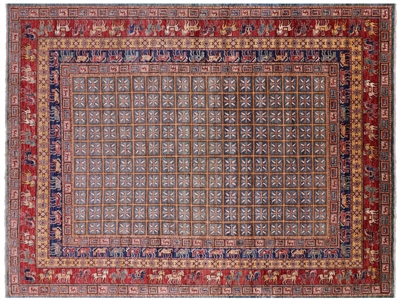 Hand Knotted Wool Antiqued Pazyryk Historical Design Rug