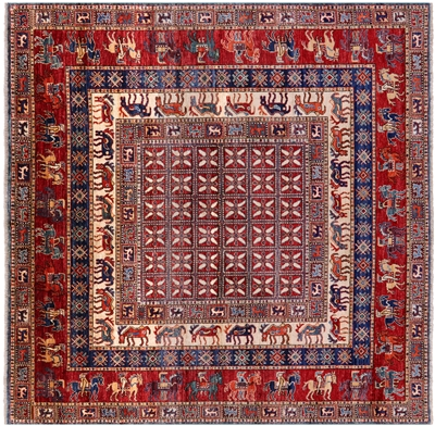 Square Antiqued Pazyryk Historical Design Hand Knotted Wool Rug