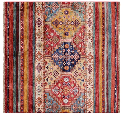 Square Tribal Khorjin Hand Knotted Wool Rug