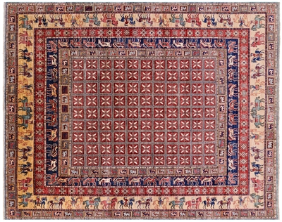 Antiqued Pazyryk Historical Design Hand-Knotted Wool Rug