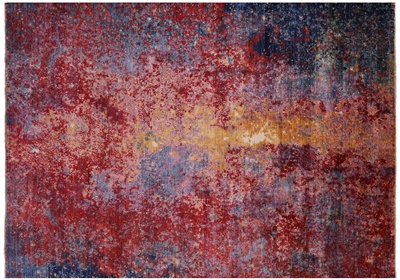 Abstract Hand-Knotted Wool Rug