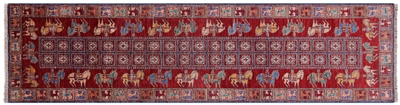Antiqued Pazyryk Historical Design Handmade Runner Rug