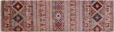 Runner Tribal Persian Gabbeh Hand-Knotted Wool Rug