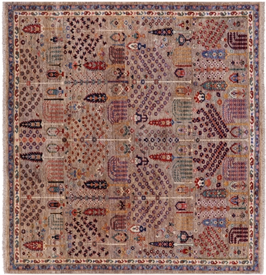 Square Persian Ziegler Hand Knotted Wool Rug