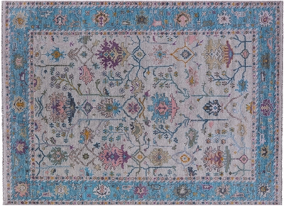 Turkish Oushak Hand-Knotted Wool Rug