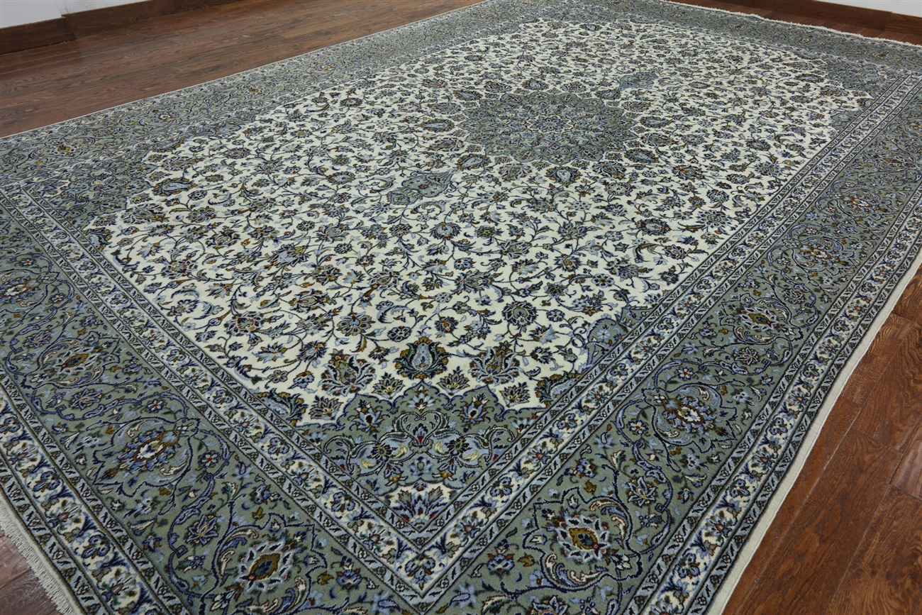 New Signed 11 X 17 Persian Kashan Area Rug