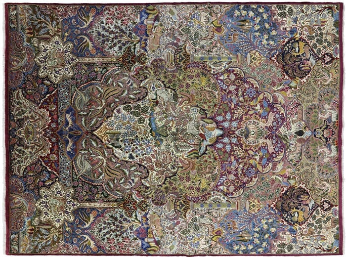 New Handmade Pictorial Scenery Oriental Persian Kashmar Area Rug