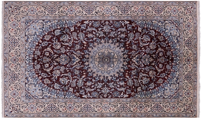 New Fine Persian Nain Wool & Silk Area Rug