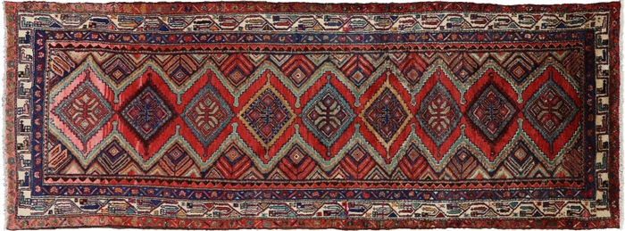 New Authentic Persian Hamadan Hand Knotted 4 X 10 Runner