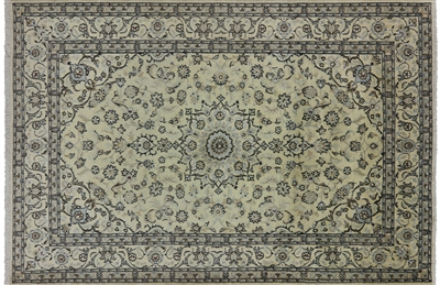 Handmade Wool & Silk Persian Nain Area Rug