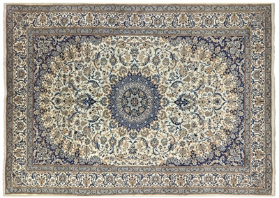 Hand Knotted Wool & Silk Persian Nain Rug