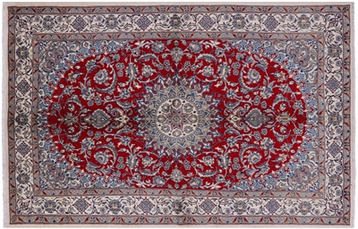 New Persian Nain Full Pile Wool & Silk Rug