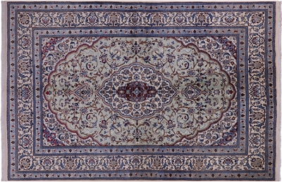 New Wool & Silk Persian Nain Full Pile Area Rug