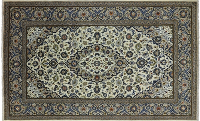 New Full Pile Wool Persian Kashan Rug