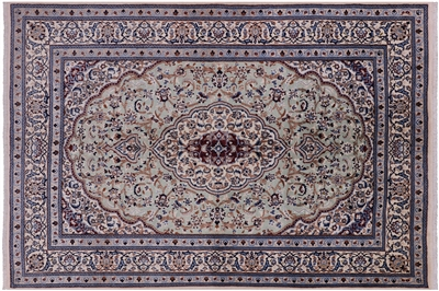 New Authentic Persian Nain Wool & Silk Area Rug