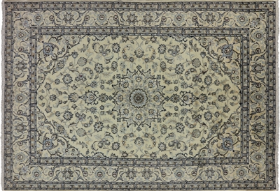 New Authentic Persian Nain Full Pile Wool & Silk Area Rug