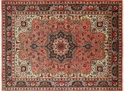 New Authentic Persian Tabriz Hand Knotted Rug