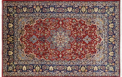 New Persian Isfahan Handmade Full Pile Rug