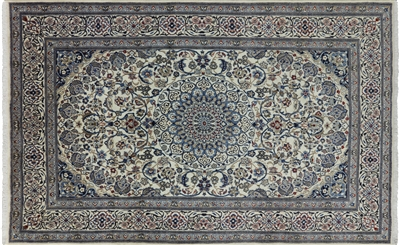 New Hand Knotted Wool & Silk Persian Nain Rug