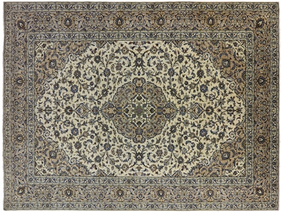 New Full Pile Authentic Persian Kashan Area Rug