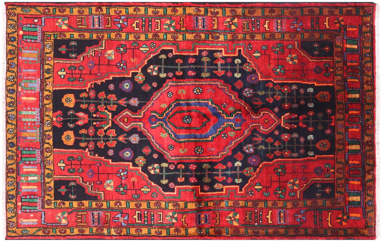 New Full Pile Wool Persian Nahavand Area Rug 5 X 8