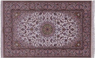 Hand Knotted Signed Persian Isfahan Wool & Silk Rug