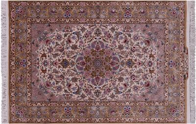 Hand Knotted Signed Isfahan Wool & Silk Persian Rug