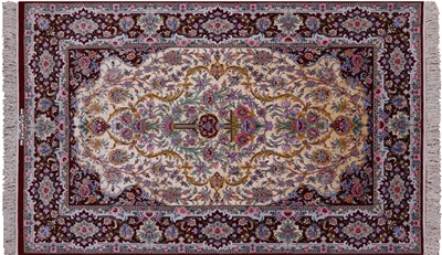 Signed Authentic Persian Fine Isfahan Silk Area Rug