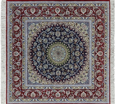 Square Signed Isfahan Wool & Silk Persian Rug