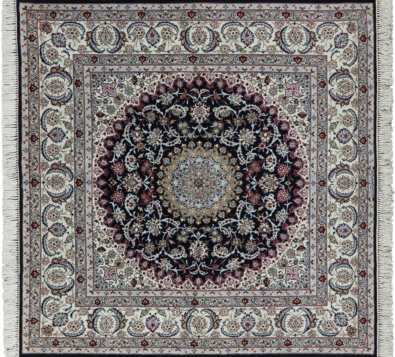 7 Square Signed Persian Hand Knotted Wool Silk Isfahan Rug
