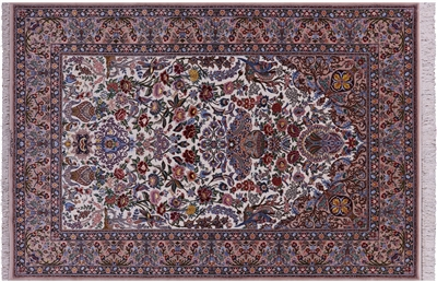 Hand Knotted Signed Isfahan Authentic Wool & Silk Persian Rug