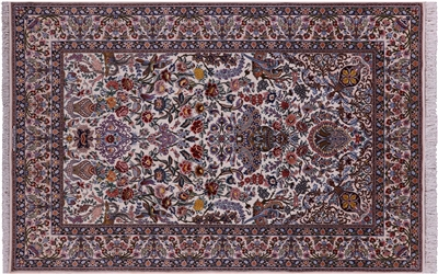 Authentic Persian Isfahan Signed Hand Knotted Wool & Silk Rug