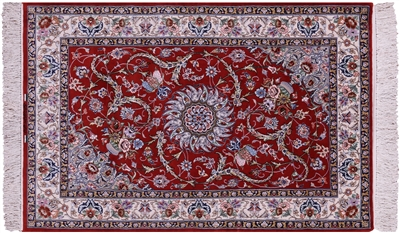 Hand Knotted Wool & Silk Persian Signed Isfahan Rug