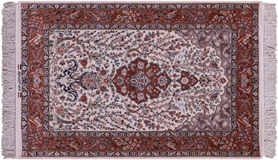 Signed Hand Knotted Persian Isfahan Wool & Silk Area Rug