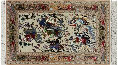 Pictorial Signed Isfahan Wool & Silk Persian Area Rug