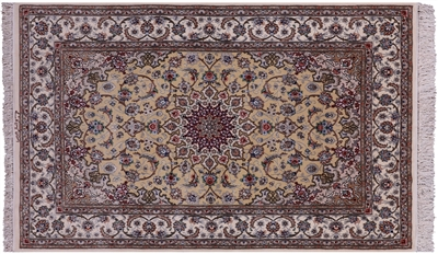 Authentic Persian Isfahan Signed Hand Knotted Silk Area Rug