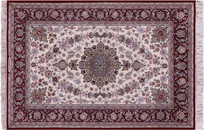 Persian Isfahan Signed Wool & Silk Area Rug