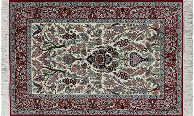 Hand Knotted Wool & Silk Persian Isfahan Signed Rug
