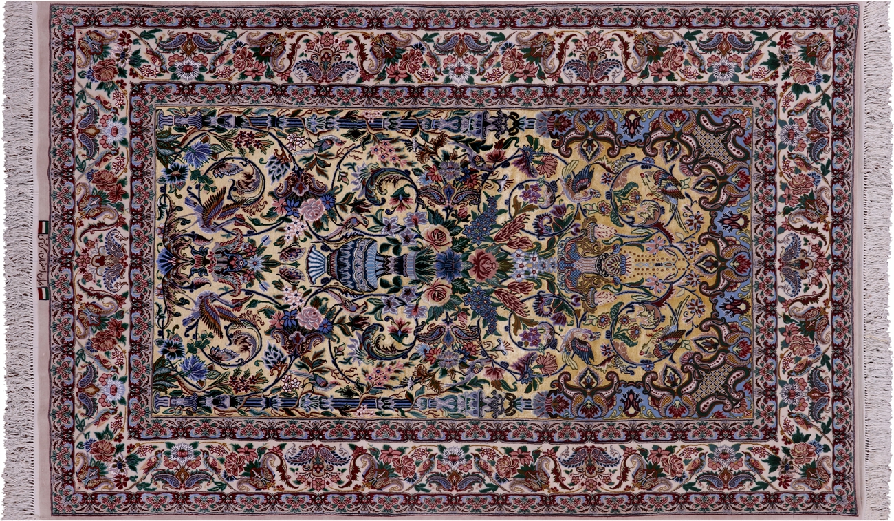 Super Fine Silk Signed Persian Isfahan Area Rug