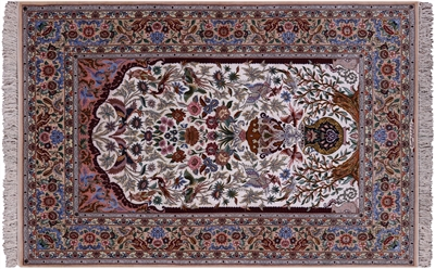 Signed Persian Isfahan  Hand Knotted Wool & Silk Area Rug