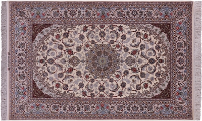 Wool & Silk Hand Knotted Persian Signed Isfahan Rug