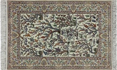 Signed Persian Isfahan Wool & Silk Rug