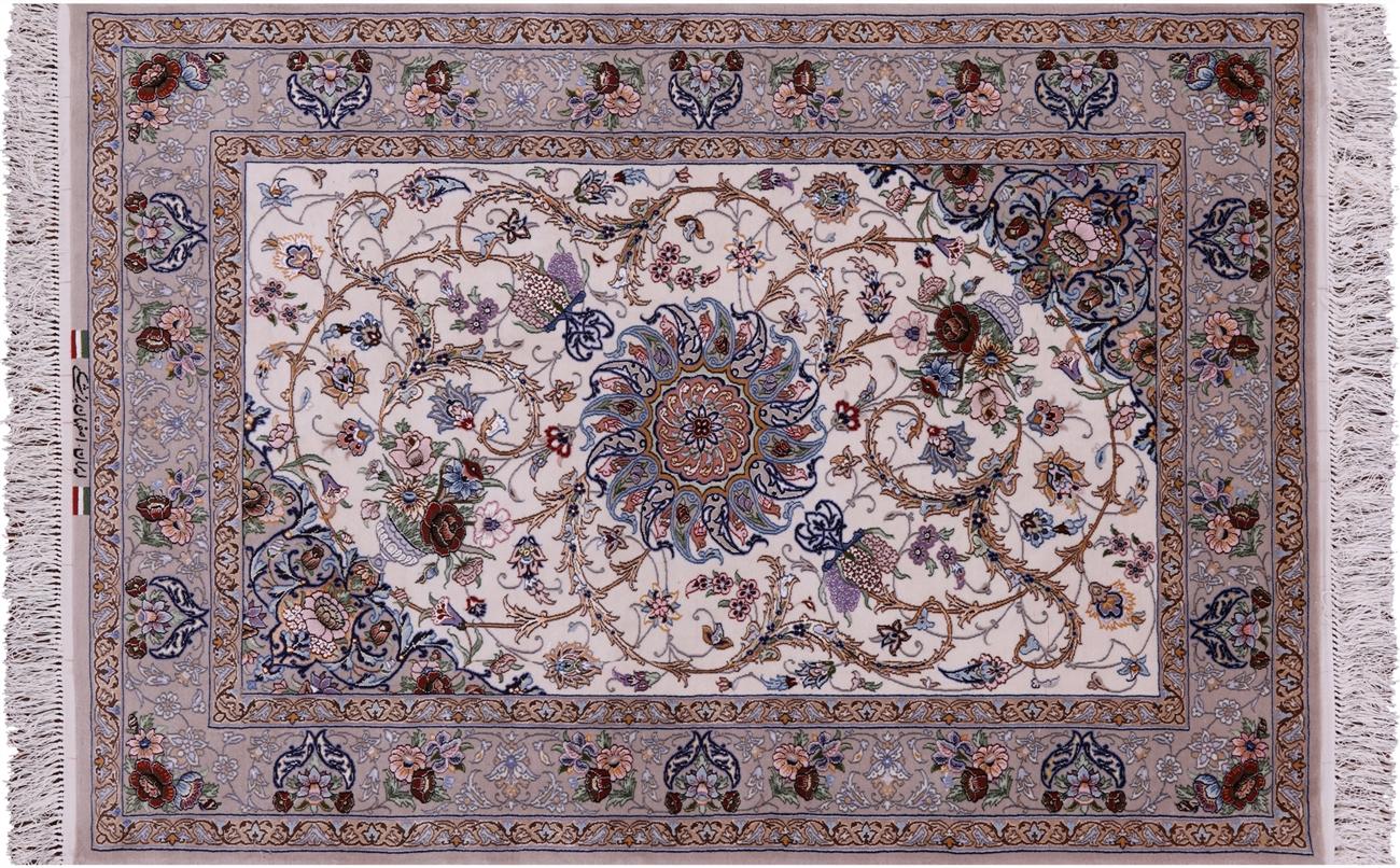 Signed Persian Isfahan Wool Silk Area Rug 3 8 X 5 4