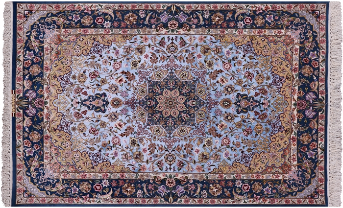 Super Fine Persian Isfahan Hand Knotted Silk Signed Rug