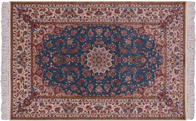 Persian Signed Isfahan Handmade Wool & Silk Area Rug