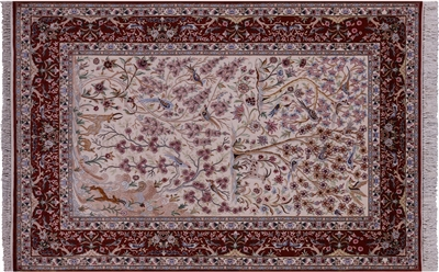 Persian Signed Isfahan Hand Knotted Wool & Silk Area Rug
