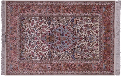 Signed 100% Silk Super Fine Persian Isfahan Hand Knotted Rug