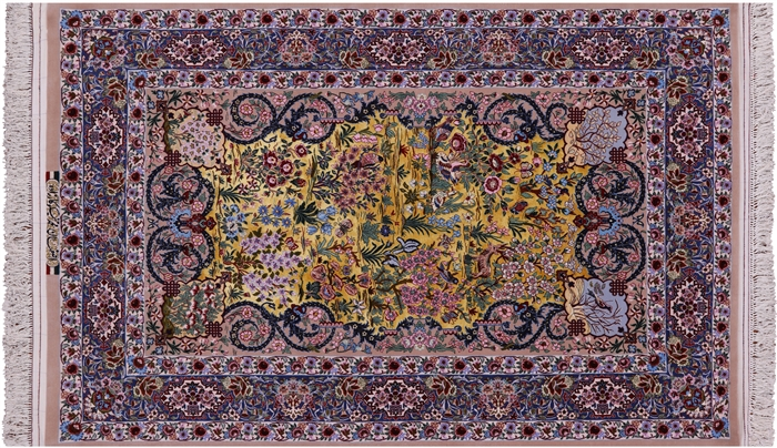 Super Fine Signed Silk Persian Isfahan Hand Knotted Rug