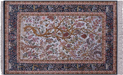Tree of Life Super Fine Silk Persian Isfahan Signed Area Rug