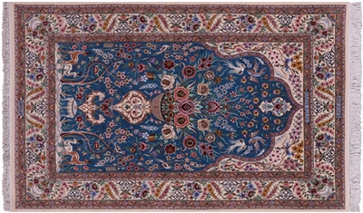 Hand Knotted Wool & Silk Persian Signed Isfahan Area Rug